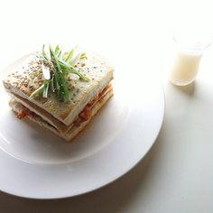 A favorite date night-in menu: Kimchi Pork Tofu Stack with Yogurt Soju Cocktail