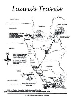 printable map of Laura Ingalls Wilder travels and homes