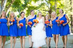 Blue and Orange Wedding? love the dresses and bouquets!