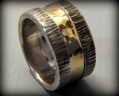 Rustic Sterling Silver and Brass Wide Wedding by VictorianMoon, $283.00