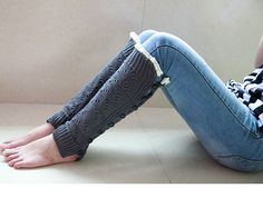 Womens Gray Leg Warmers With Cream Lace Trim & Black Button Thick Leg Warmers Knitted Boot Socks Pure Cotton Knee Socks Open Knit Socks 1114