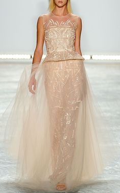 Petal Embroidered Tulle Sleeveless Gown by Monique Lhuillier for Preorder on Moda Operandi