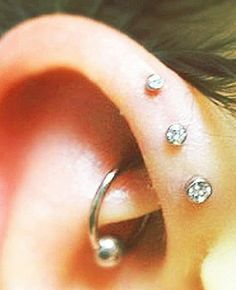 "16g 1 4"" 2mm 2 5mm 3mm Tiny CZ Triple Forward Helix Cartilage Piercing Earring 