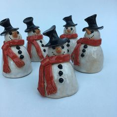 A hand built ceramic snowman that is suitable for your home or garden. Each snowman is individually Clay Christmas Decorations, Snowman Christmas Ornaments, Christmas Clay, Clay Ornaments, Christmas Crafts, Clay Projects For Kids, Kids Clay, Pottery Courses, Pottery Store