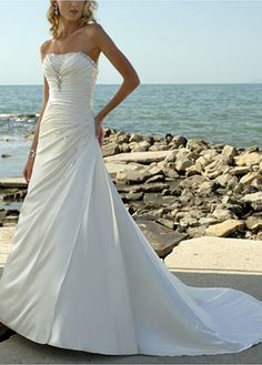 Buy discount Elegant Soft Satin Strapless A-line Wedding Dress For Your Beach Wedding at Dressilyme.com