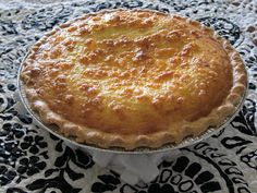 Ham & onion quiche. Pie crust, ham, onion, cheese, & eggs; simple ingredients, simple recipe.