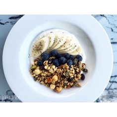 Homemade Nutty Granola, Banana, Blueberries & Greek Yoghurt :   Make your own Granola by following my recipe, online at www.weeatwhat.com  Check it out for loads more recipes, tips and inspiration for the health conscious!
