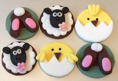 12 x edible icing Easter cupcake toppers cake decorations by ACupfulofCake on Etsy £17.50