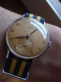 "compulsiveawesomeness: ""just received my first nato strap for my vintage Omega watch…a nice alternative to my regular aligator straps "" Men's Watches, Luxury Watches, Cool Watches, Fashion Watches, Watches For Men, Vintage Omega, Vintage Rolex, Vintage Watches, Bracelet Nato"