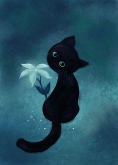 cute black kitten with flower painting