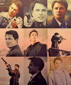 Captain Jack Harkness, from Doctor Who, reminds me of a younger Mark Harmon. Torchwood, Captain Jack Harkness, Avatar, John Barrowman, Donna Noble, Rose Tyler, Geronimo, Bad Wolf, David Tennant