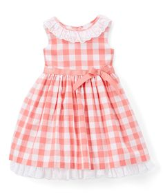 Take a look at this Laura Ashley Coral & White Gingham Sleeveless Dress - Infant & Girls today!Doll up your little lady with the quaint cotton gingham sleeveless accented by a frilly ruffled neckline and dainty bow at the waist. Note: Infant sizes in Kids Dress Wear, Little Girl Outfits, Toddler Girl Dresses, Toddler Outfits, Kids Outfits, Baby Outfits, Baby Dress Design, Baby Girl Dress Patterns, Infant Girls