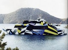 A contemporary example of dazzle camouflage, on a yacht, by Jeff Koons. Typical dazzle elements include the high contrast between blocks of patterns that encourage the viewer to perceive breaks where there should be continuous hull, and the angling of lines to create false perspective.