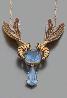 A gold, plique-à-jour enamel, diamond and blue stone pendant necklace, probably Art Nouveau.