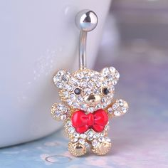 Wholesale Red Bow Tie Little Bear Navel Belly Button Rings 316L Surgical Steel Kawaii Piercing For Women Sexy Body Jewelry 1.6mm