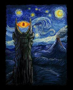 """""""Middle Earth Van Gogh"""" aka """"Sauron Van Gogh"""" by DAObiwan Inspired by Tolkien's Middle Earth, this design features the Eye of Sauron in the style of Van Gogh's Starry Night Legolas, Gandalf, Tauriel, Jrr Tolkien, Tatouage Tolkien, Memes Arte, Mythology Tattoos, O Hobbit, Cthulhu"""