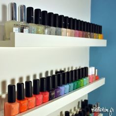 nail polish organization (something like this on the with enclosed sides on the inside of the cabinet door would be good!!!)