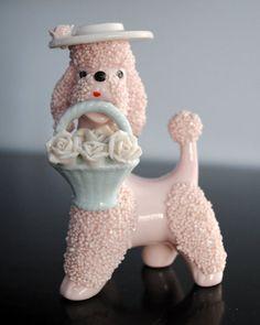 Spaghetti pink poodle figurine