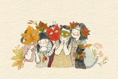 Imagem de cat, girl, and illustration Ink Illustrations, Cute Illustration, Belle And Boo, Background Pictures, Anime Art Girl, Pretty Pictures, Cat Art, Watercolor Art, Art Drawings