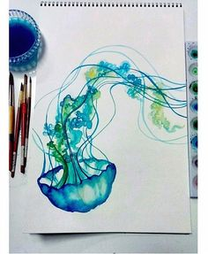 Blue Jellyfish Watercolor Print Fun Colorful Art by FuzzyLlamas