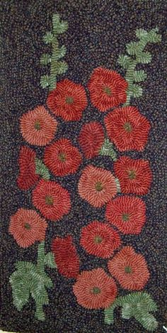 Hollyhocks Hooked Rug Kit by harwoodhookedonewe on Etsy, $80.00