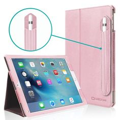 iPad Pro 9.7 Case, [Corner Protection], Casecrown Bold Standby Pro (Rose Quartz / Pink) Case w/ Apple Pencil Holder - Black, Sleep / Wake, Hand Grip, & Multi-Angle Viewing Stand