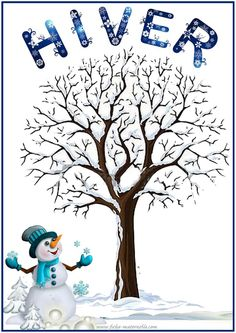 affiche de l hiver Winter Kids, Winter Art, Weather Lessons, French Flashcards, Theme Noel, French Lessons, Teaching French, Lessons For Kids, Learn French