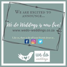 """""""We Do Weddings"""" is excited to announce…  WE ARE LIVE!  Thank you for being a part of the start of this great adventure with us.  Follow us! Tell your friends about us!  www.wedo-weddings.co.za  #kznweddings #wedoweddings #wearelive #engaged #gettingmarried #kzn #greatadventure #allyourweddingneeds """" Greatest Adventure, Getting Married, This Is Us, Told You So, Weddings, Live, Friends, Amigos, Wedding"""
