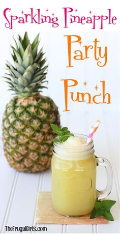 Pineapple Party Punch Recipe!  Serve up a sparkling, delicious taste of the tropics at your next birthday party, bridal shower, baby shower, or luau party!  Just 5 ingredients! | TheFrugalGirls.com