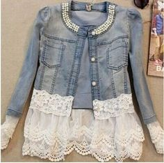 denim jackets with lace - Google Search