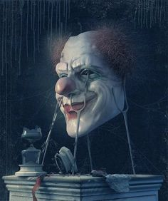 The paintings of Russian artist and illustrator Andrew Ferez are a wonderful mixture of fantasy art, the surreal and more than just a hint of the macabre. The Crow, Pierrot Clown, Send In The Clowns, Creepy Clown, Creepy Carnival, Evil Clowns, Art Et Illustration, Horror Art, Surreal Art