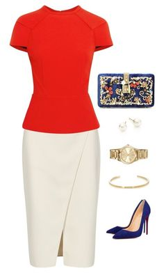 Untitled #1034 by mrseclipse on Polyvore featuring polyvore fashion style Roland Mouret Acne Studios Christian Louboutin Dolce&Gabbana Majorica MICHAEL Michael Kors Yves Saint Laurent clothing