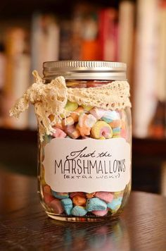 Homemade DIY Gifts in A Jar   Best Mason Jar Cookie Mixes and Recipes, Alcohol Mixers   Fun Gift Ideas for Men, Women, Teens, Kids, Teacher, Mom. Christmas, Holiday, Birthday and Easy Last Minute Gifts   Just the Marshmallows Gift in a Jar    http://diyjoy.com/diy-gifts-in-a-jar