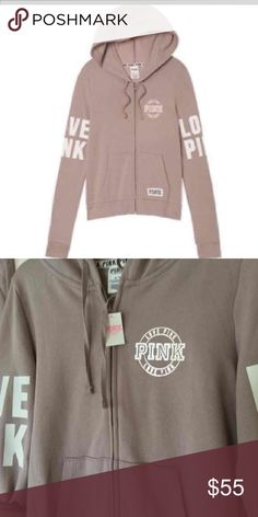 VS PINK FULL ZIP HOODIE Victoria's Secret PINK! Full zip perfect hoodie. Lavender rain / nude / khaki color. Size small. Oversized. NWT PINK Victoria's Secret Sweaters