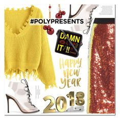 """""""Yellow sweater and sequins skirt for 2018"""" by ansev ❤ liked on Polyvore featuring Victoria, Victoria Beckham, Gianvito Rossi and Yazbukey"""
