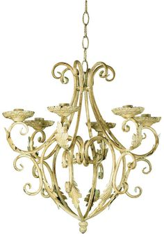 Elegant candleholder chandelier is delicately designed in wrought iron to bring home the romantic charms of the Old World. Uses taper candles (not included).  royalty's candelier by Rustica House. #myRustica