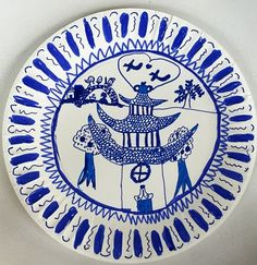 Anna8533u0027s art on Artsonia Teaching the story behind the famous Willow Pattern and recreating it on a paper plate  sc 1 st  Pinterest & Willow Pattern Paper Plates---Read Blue Willow | Gardening ...