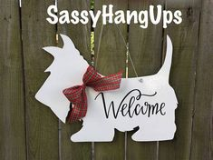 Scottie Dog, Scottish Terrier, Scottie, Scottie Dog Door Hanger, Scottie Door Hanger, Scottie Dog Welcome Sign, Scottie Dog Decal  Welcome your family and friends to your home with this adorable Scottie dog decorative door hanger welcome sign.  1/4 birch wood measures approximately 22 x 18 x 1/4. Painted white on both sides for that finished look and sealed both sides for protection. A wire hanger is attached for easy hanging. Choose your ribbon from 11 different choices.  Choose yo...