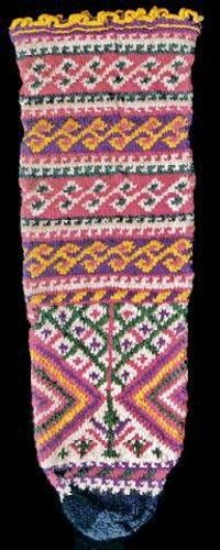Traditional woollen wedding sock from the Black sea region.  For the bride, mid-20th century.