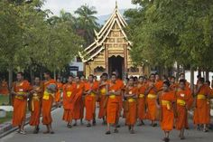 Wat Phra Singh, Viharn Lai Kham with young monks. - John Elk/Lonely Planet Images/Getty Images
