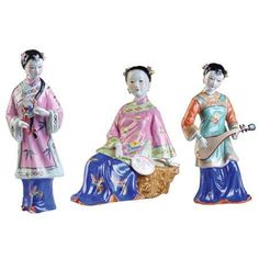 Porcelain Maiden Figurines - Set of 3 - OrientalFurniture.com