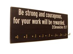 Inspirational bible quotes sports inspirational bible verse running medals by home improvement technical services llc Bible Quotes, Bible Verses, Godly Quotes, Scriptures, Running Medals, Medal Holders, Be Strong And Courageous, Inspirational Thoughts, Christian Quotes