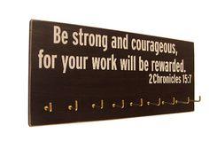 inspirational bible verse: running medals hanger on Etsy, $28.00