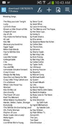 A list of romantic and fun songs to play at your wedding!  *cds*