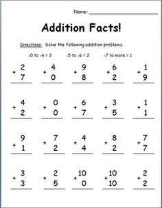 Addition facts assessment