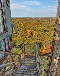 View from the top of the stairs at the Dorset Scenic Lookout Tower, - Dorset, Ontario - Photo by James Wheeler Ontario Cottages, Ontario Travel, Lookout Tower, Algonquin Park, Canada Travel, Adventure Is Out There, Travel Around, The Great Outdoors, Stairs
