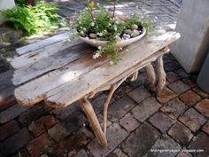 Lovely table made from driftwood. @Pascale Lemay De Groof