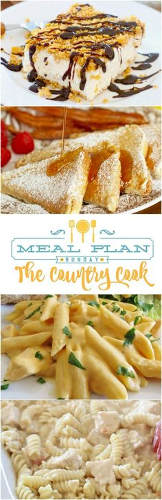 Meal Plan Sunday featured recipes include: Mom's Taco Salad, Crock Pot Buffalo Chicken Pasta, Crock Pot Salsa Ranch Chicken, Fluffy French Toast, Fried Ice Cream Cake, No Bake Strawberry Dessert and more!