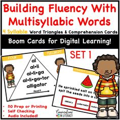 Digital Distance Learning for Elementary School students! Multisyllabic word activities can be linked to in Google Classroom & are great for word work, reading interventions & literacy centers! Students practice decoding multisyllabic words, self check audio & learn comprehension skills in these Boom Cards common core products #guidedreading #fluency #conversationsinliteracy #comprehension #phonics #classroom #elementary #thirdgrade #secondgrade #fourthgrade #fifthgrade 2nd grade, 3rd grade, 4th