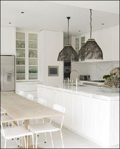 an example of how we might want to make use of the length of the kitchen...long, narrow island...skinny table